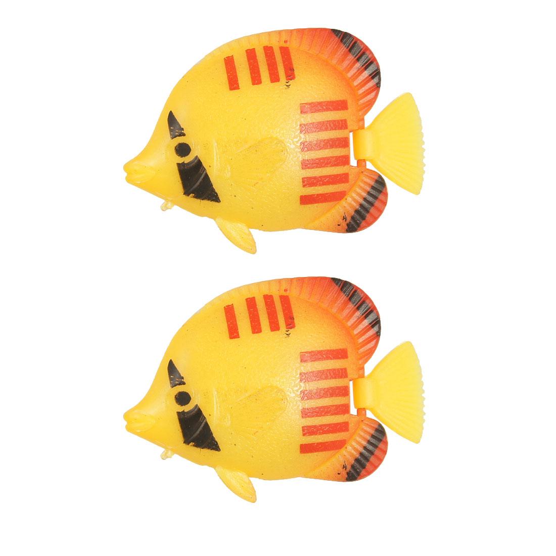 Set Of 2 Plastic Swing Tail Stripe Simulation Fish Tank
