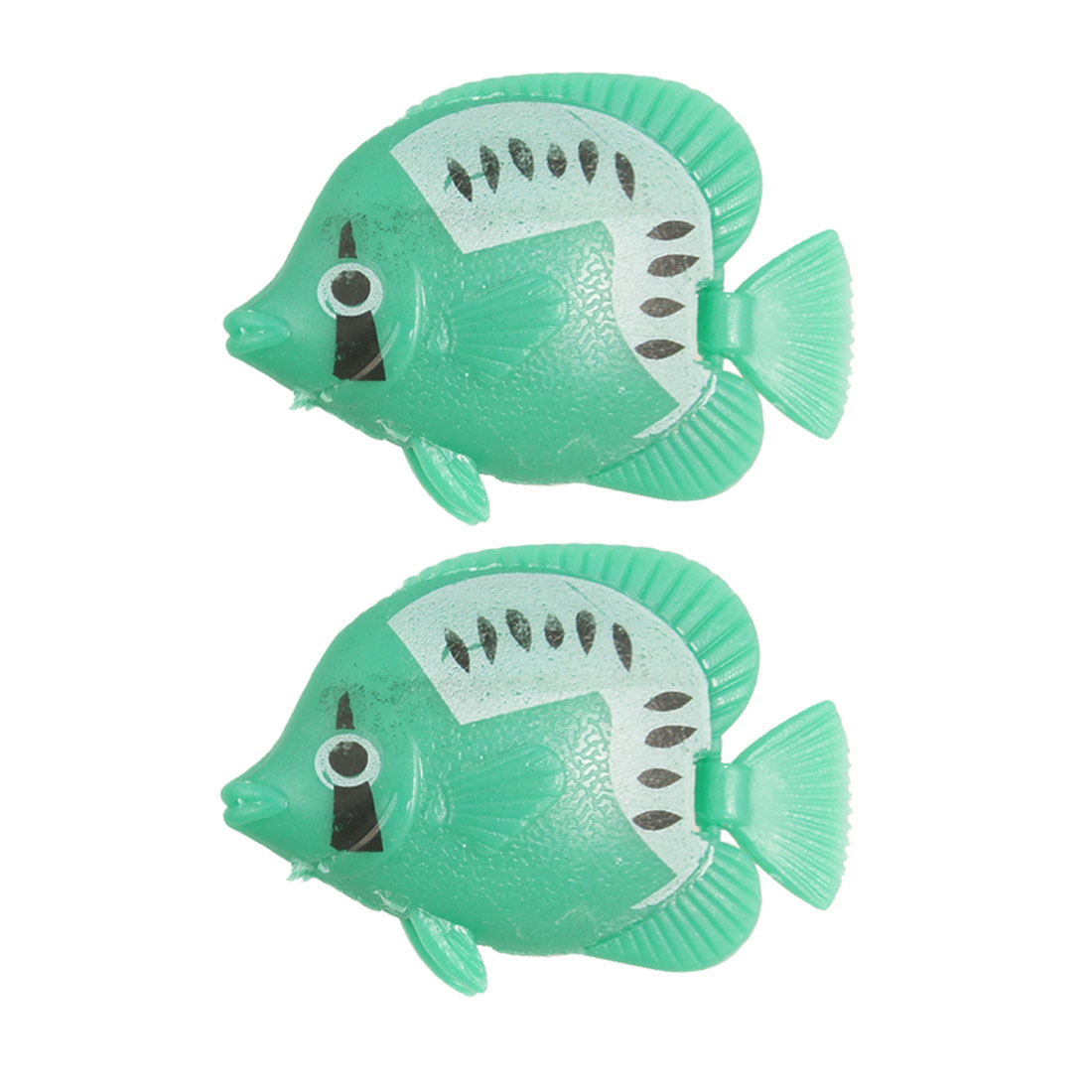 2 Pcs Green Plastic Simulation Fish for Aquarium Ornament