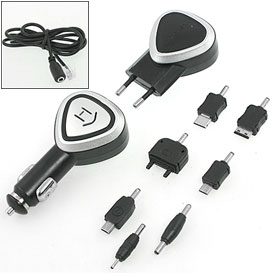 Universal EU Plug Mobile Phone Car Charger + 7 Adapters Kit Black