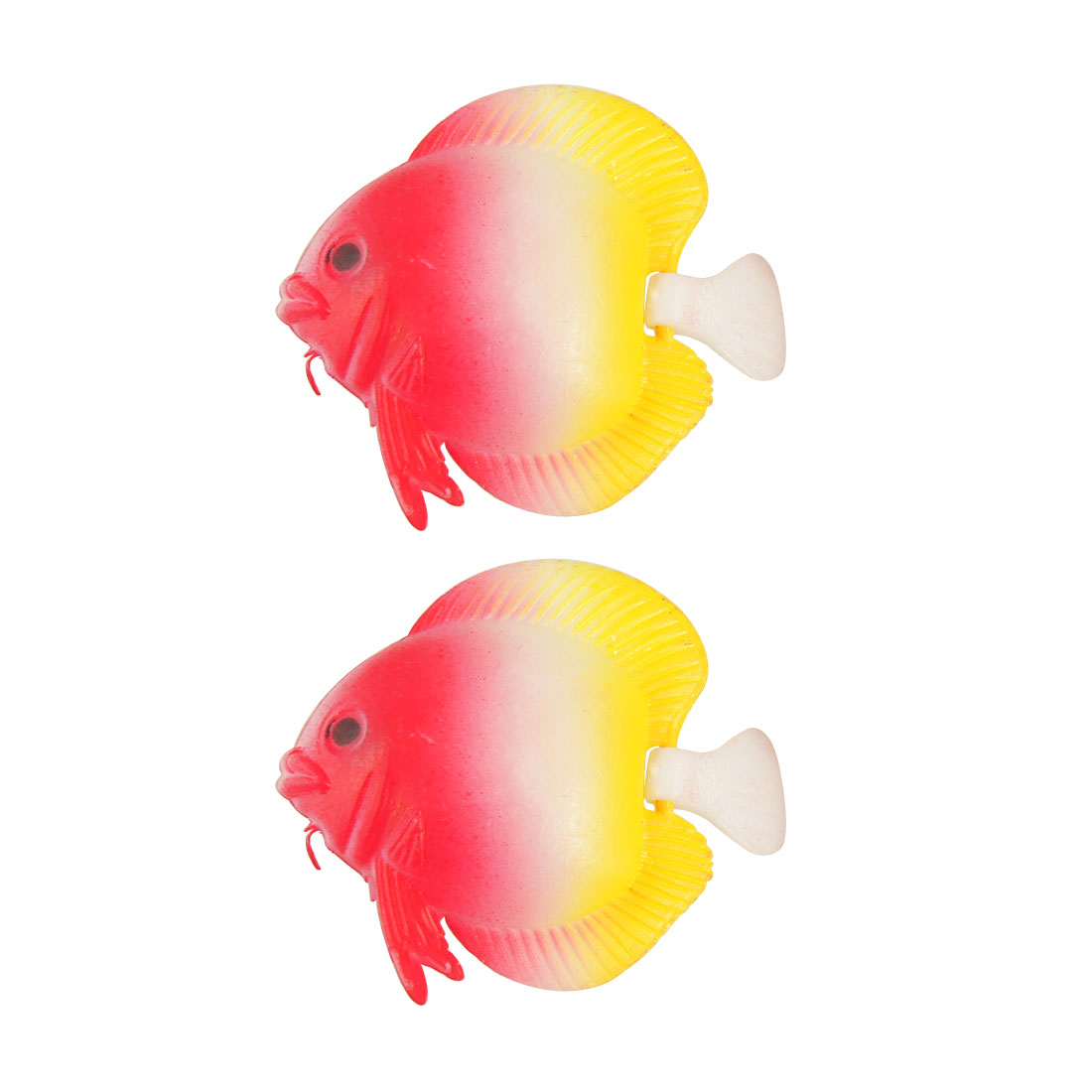 2 Pcs Swing Tail Aquarium Floating Artificial Fish Red Yellow White