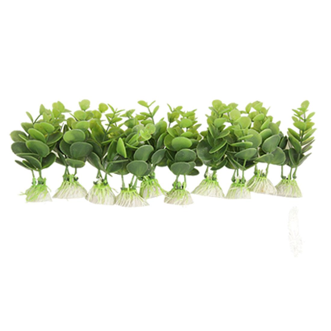 10 Pcs Green Plastic Plants Grass Decor Ornament for Fish Tank
