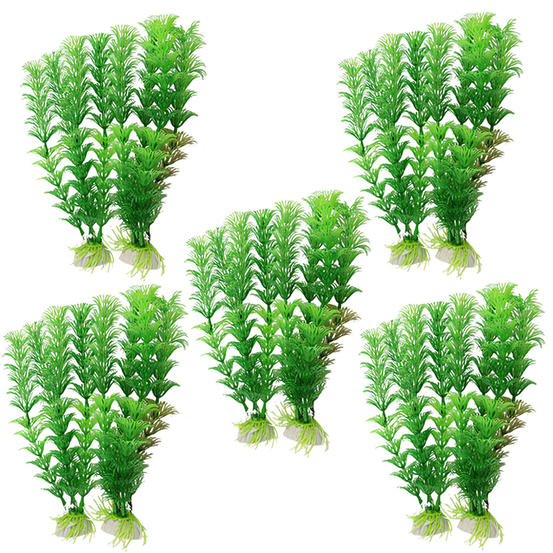 "10 Pcs 7 3/10"" Green Artificial Leaves Aquatic Plastic Plants Ornament for Fish Tank Aquarium"