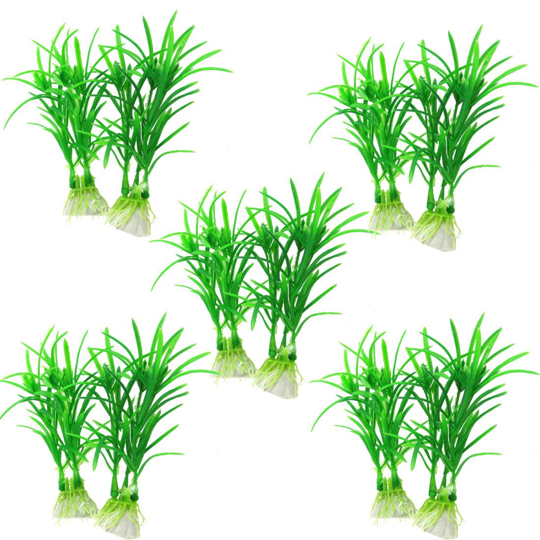 """10 x Aquarium Aquascape Emulational Green Plastic Plant Decoration 4 3/10"""""""