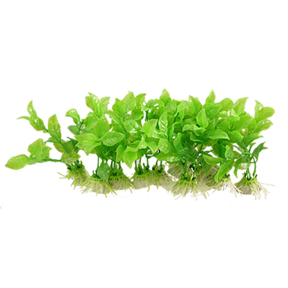 "10 Pcs 4"" Green Artificial Oval Leaves Plastic Aquatic Plants for Fish Tank"