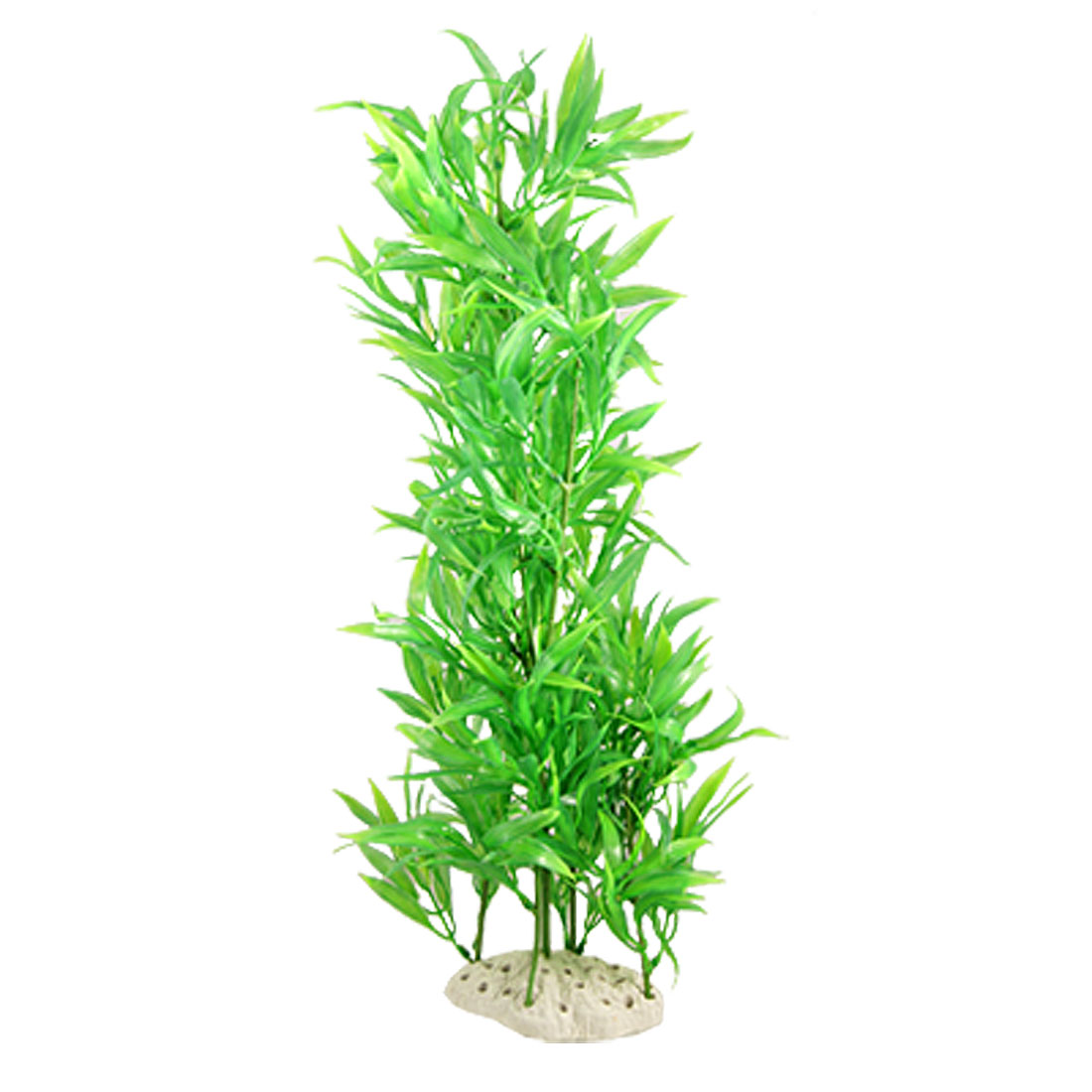 "19"" Aquarium Fish Tank Artificial Green Leaf Plastic Plant w Ceramic Base"