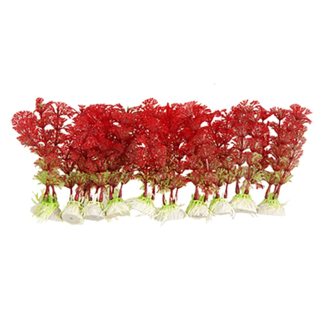10 Pcs Burgundy Green Plastic Plants Grass Decor for Fish Tank