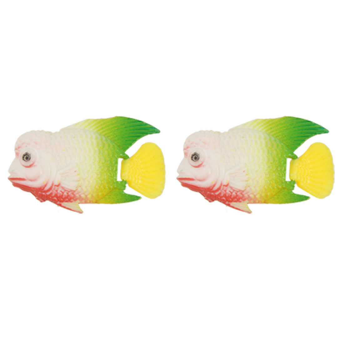 Set Of 2 Plastic Swing Tail Stripe Artificial LuoHan Fish for Tank