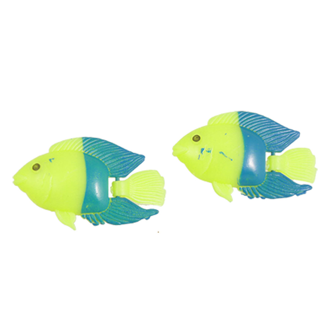 2 Pcs Yellow Darkcyan Plastic Moved Tail Float Aquarium Fake Fish