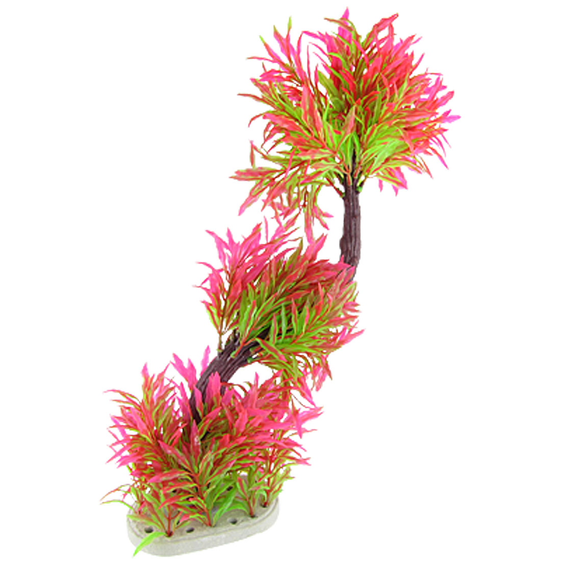 Pink Green Leaves Brown Branch Plastic Plant for Aquarium