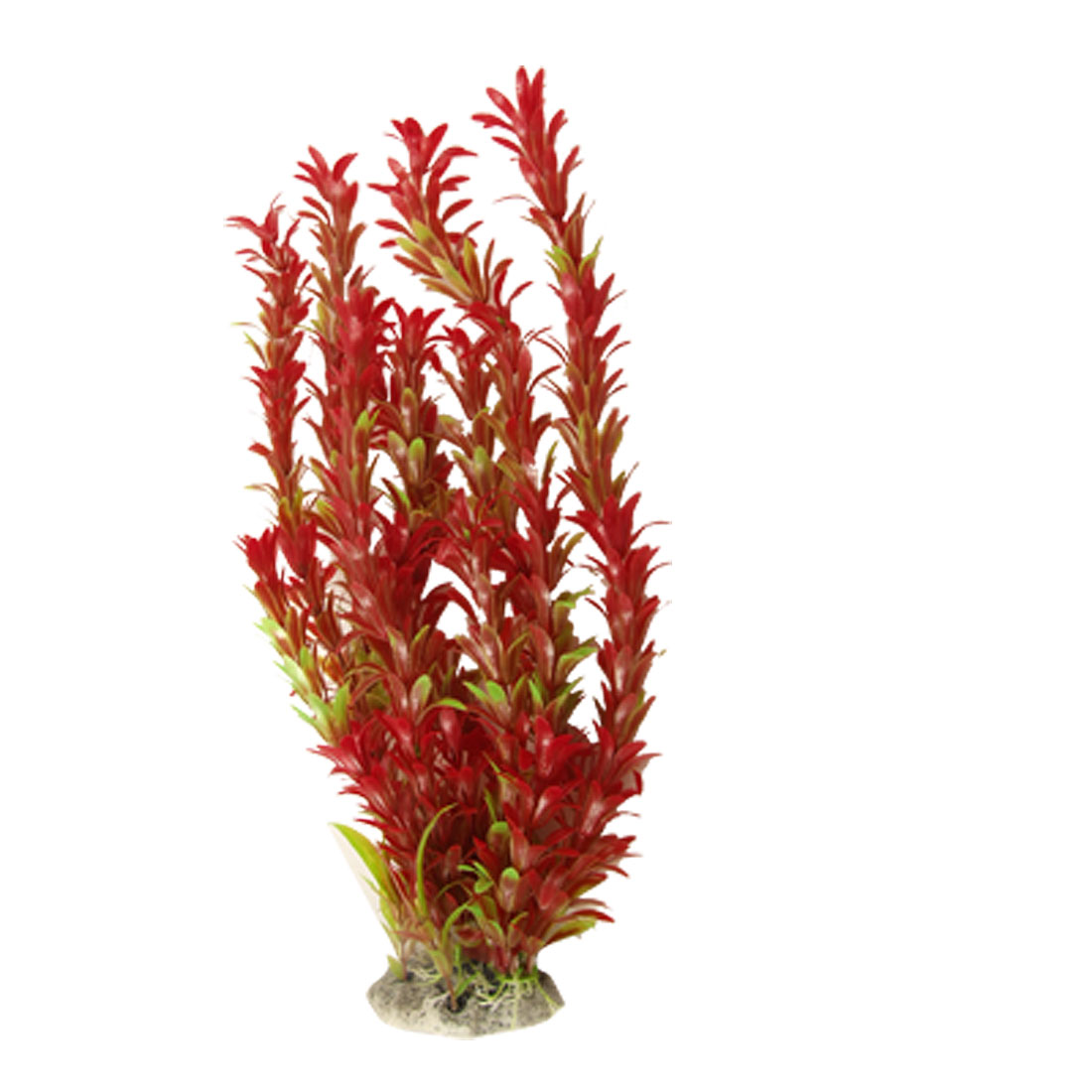 "Burgundy Long Leaves 17"" High Plastic Plant Ornament for Aquarium"