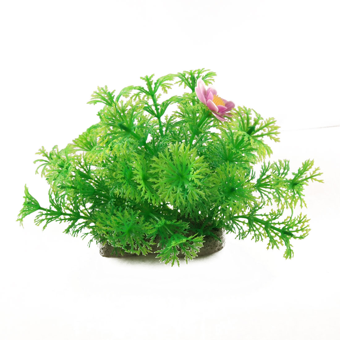 Aquarium Ceramic Base Floral Snowflake Leaves Plastic Plant Decor Green