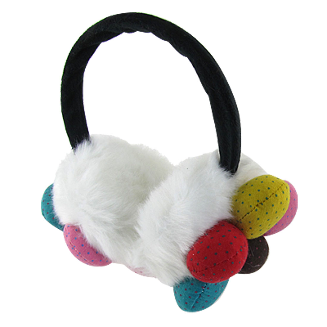 Women Colorful Flower Decor White Plush Earmuffs Ear Warmers