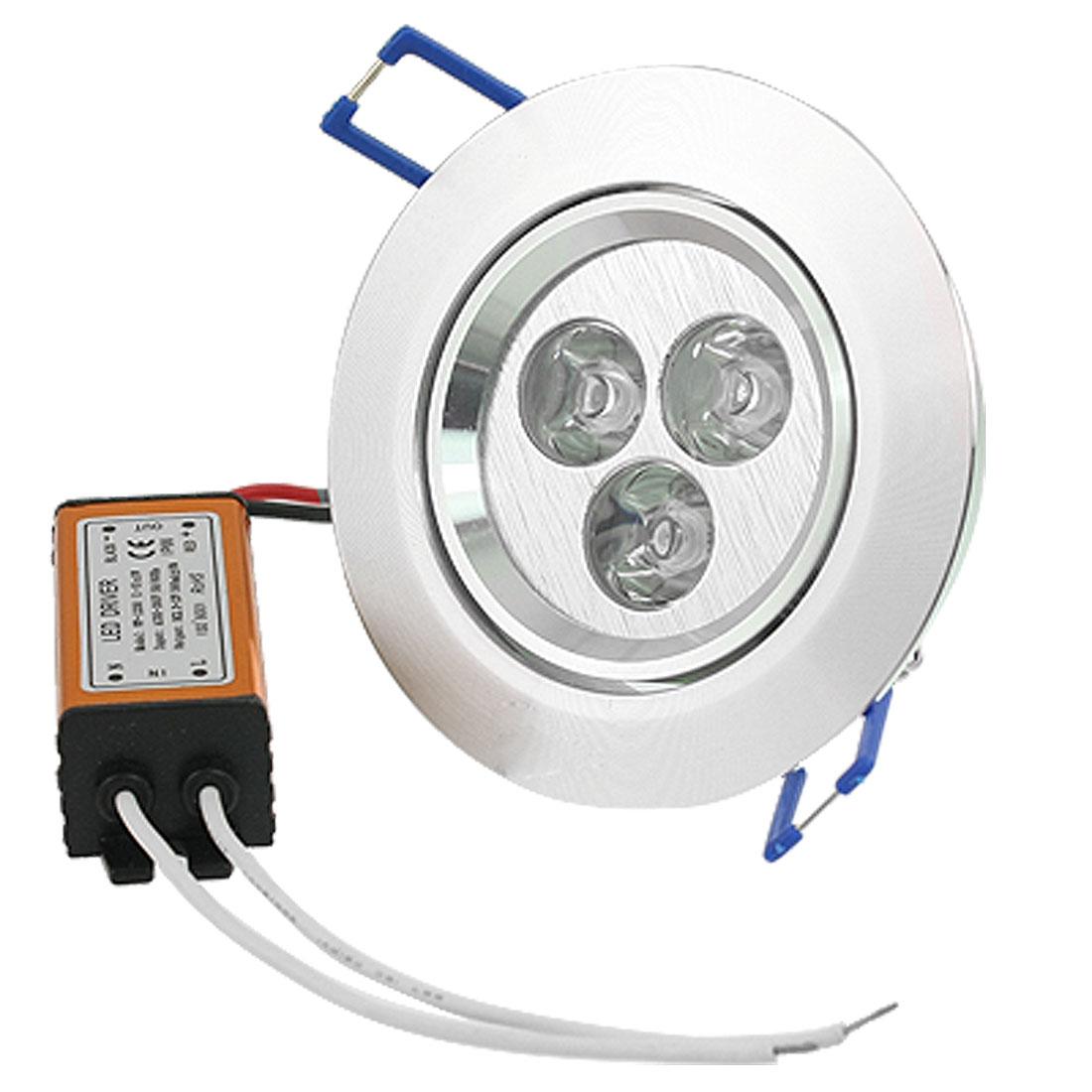 Aluminium Case Warm White 3 LEDs Ceiling Round Down Light Bulb AC 85-265V 3W
