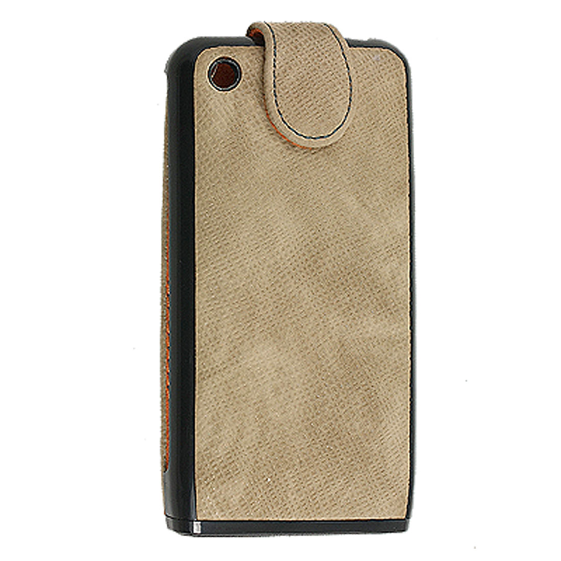 Khaki Faux Leather Magnetic Vertical Flip Pouch for iPhone 3G 3GS