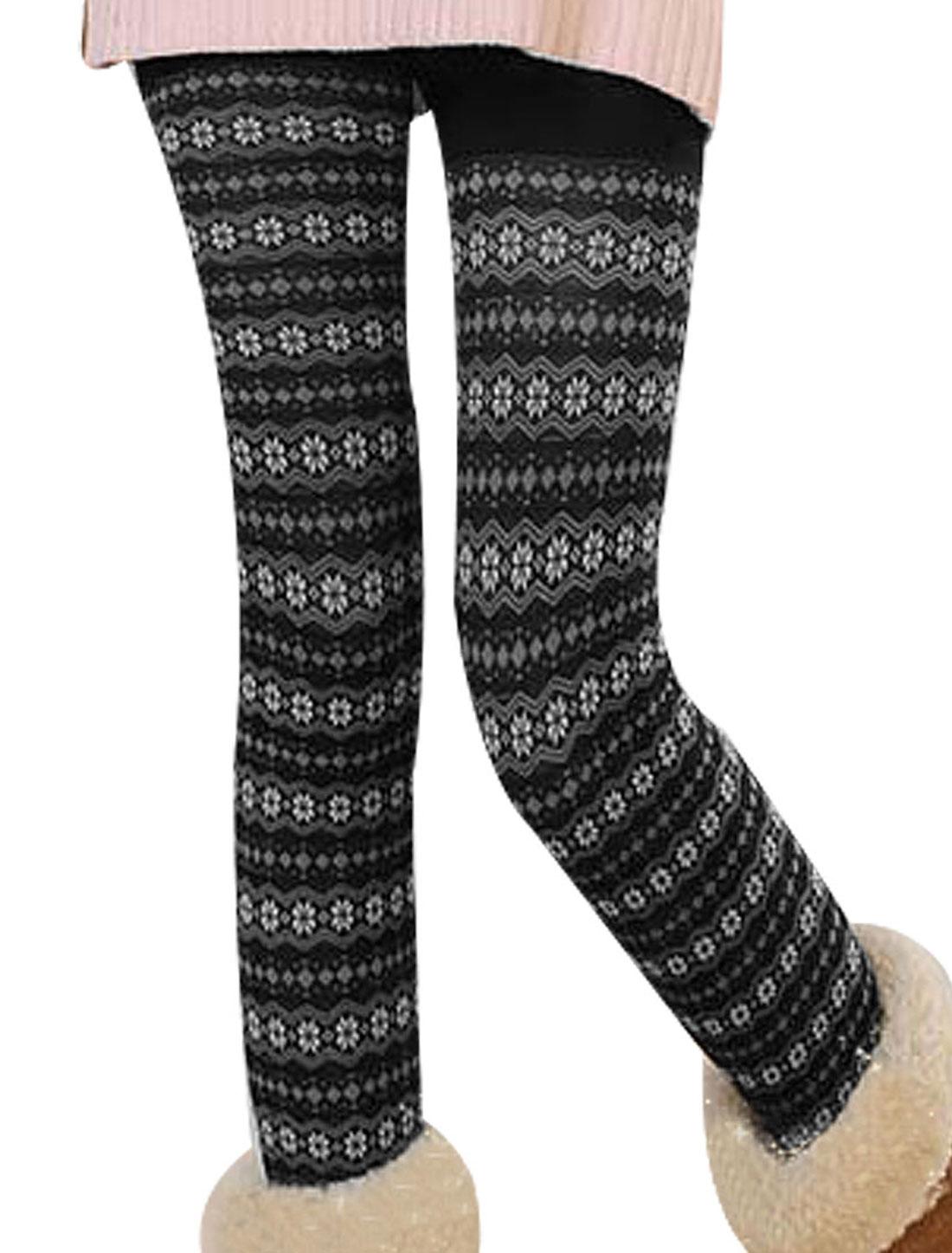 Snowflake Print Black Skinny Legging Pants XS for Women