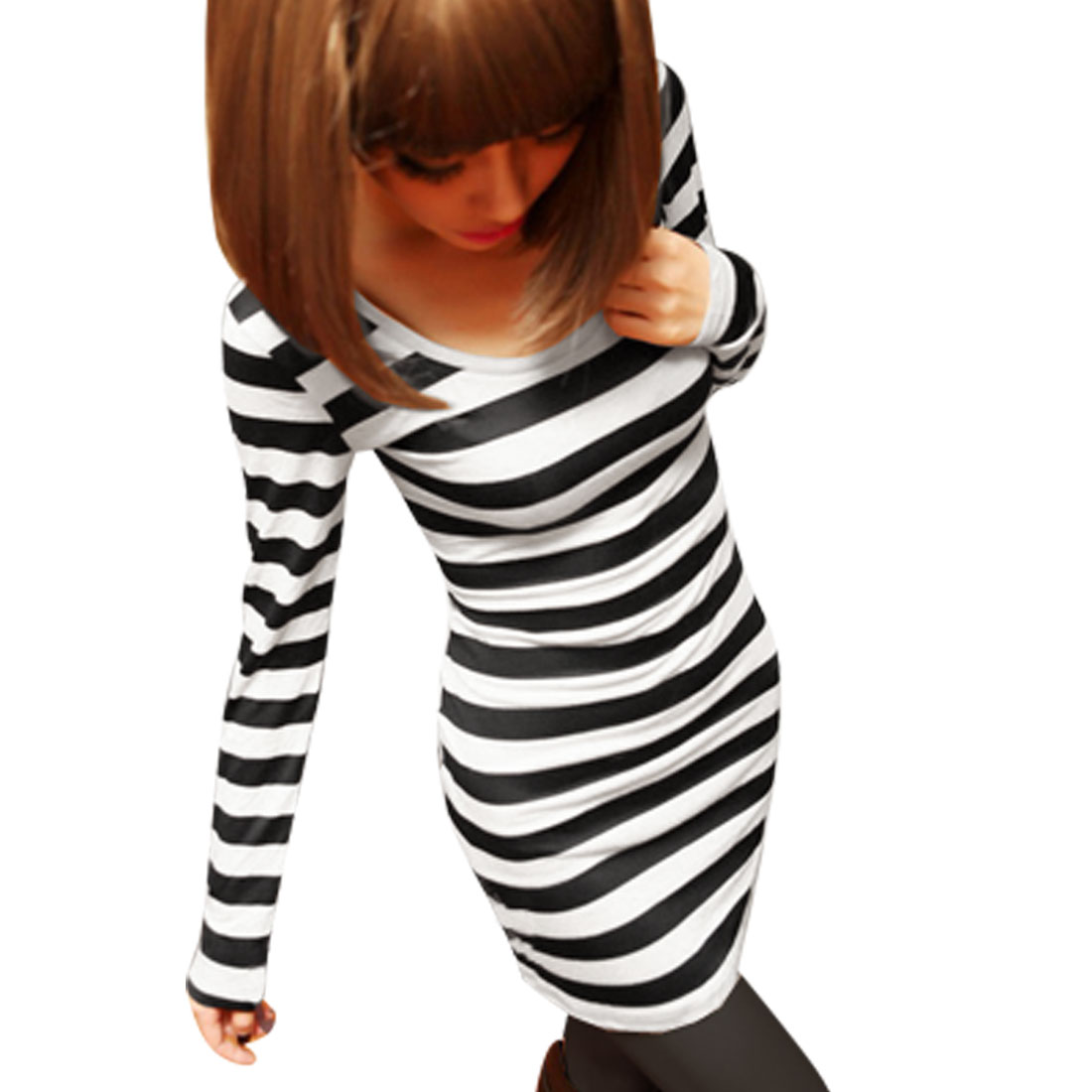 Scoop Neck Black White Bar Striped Pullover Tunic Shirt XS for Lady