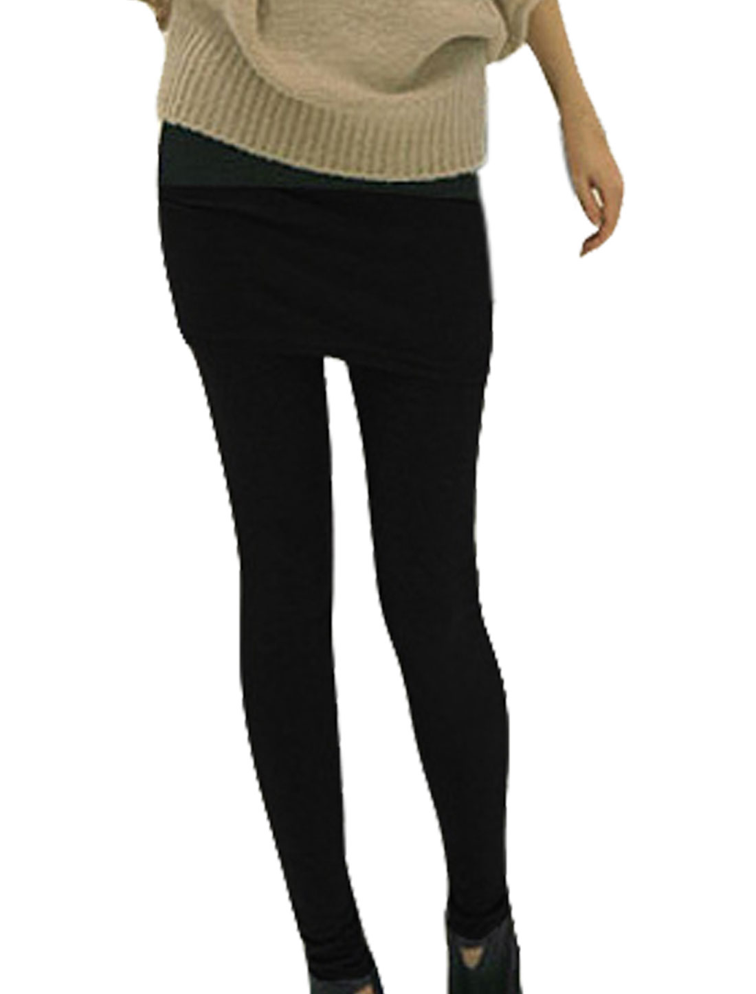Ladies Black Elastic Waist Skinny Skirt Leggings Pants S