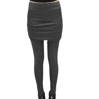 Dark Gray Elastic Waist Close-fitting Legging S for Women