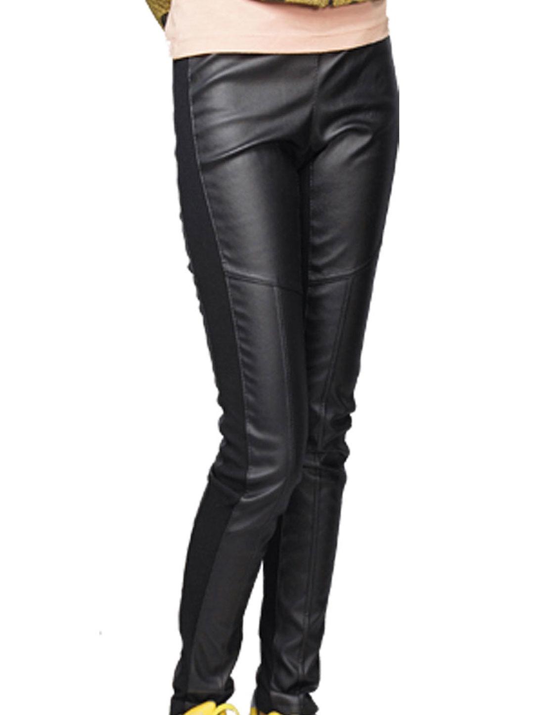 Women Elastic Waist Fleece Lining Faux Leather Leggings Black S