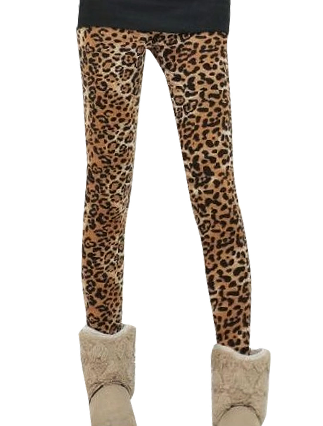 Women Elastic Waist Fleece Lining Leopard Print Legging Brown Black S
