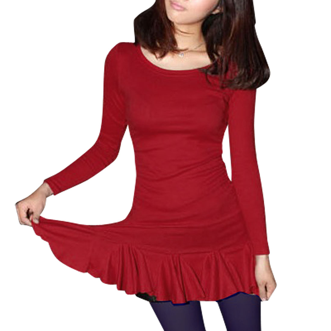 Red Pullover Long Sleeve Ruffled Hem Mini Dress XS for Women