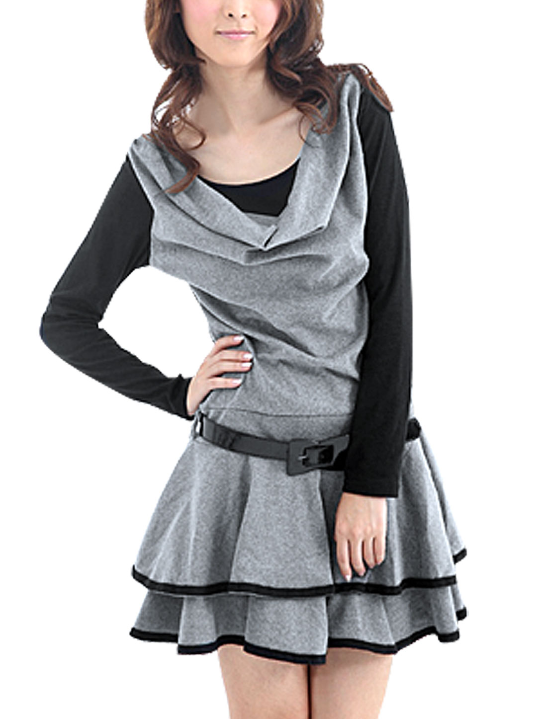 Light Gray Scoop Neck Layered Dresses Mini Dress XS for Women
