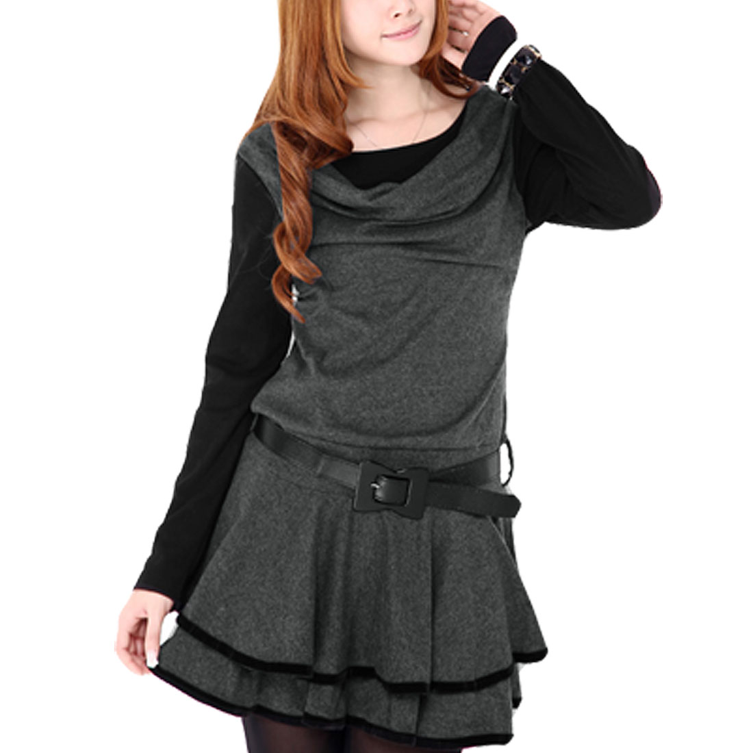 Dark Gray Scoop Neck Pullover Stretchy Ruffled Mini Dress XS for Women