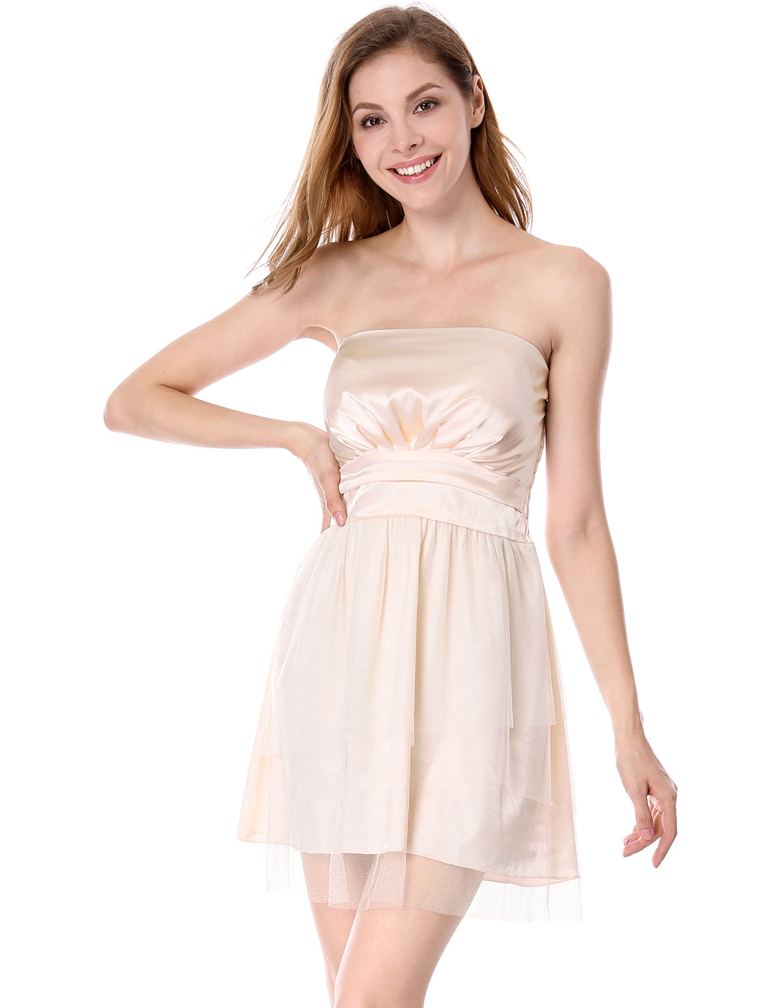 Women Smocked Back Strapless Short Tube Dress Beige XS