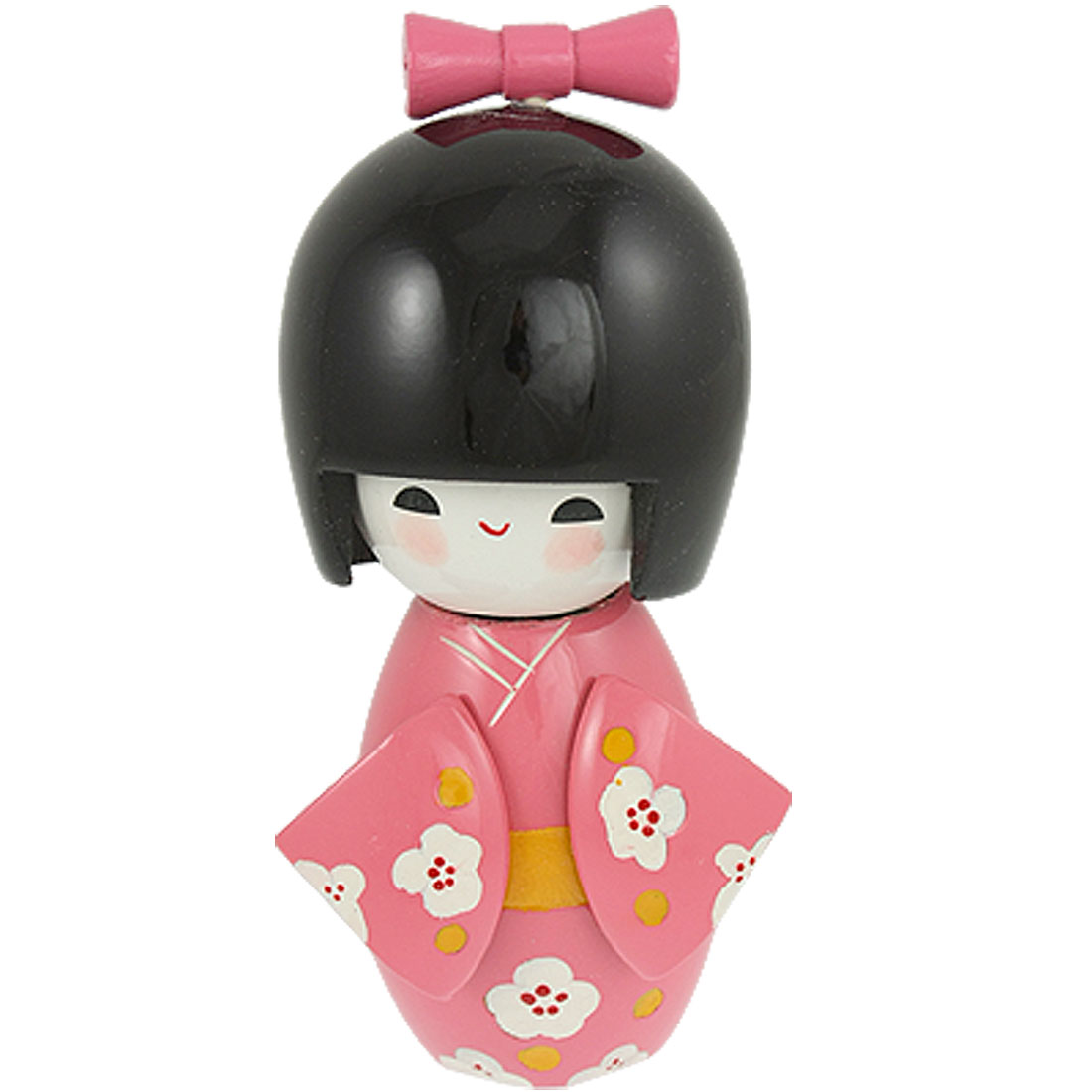 Bowtie Decor Smiling Girl Pink Kimono Japanese Kokeshi Doll Wooden Toy