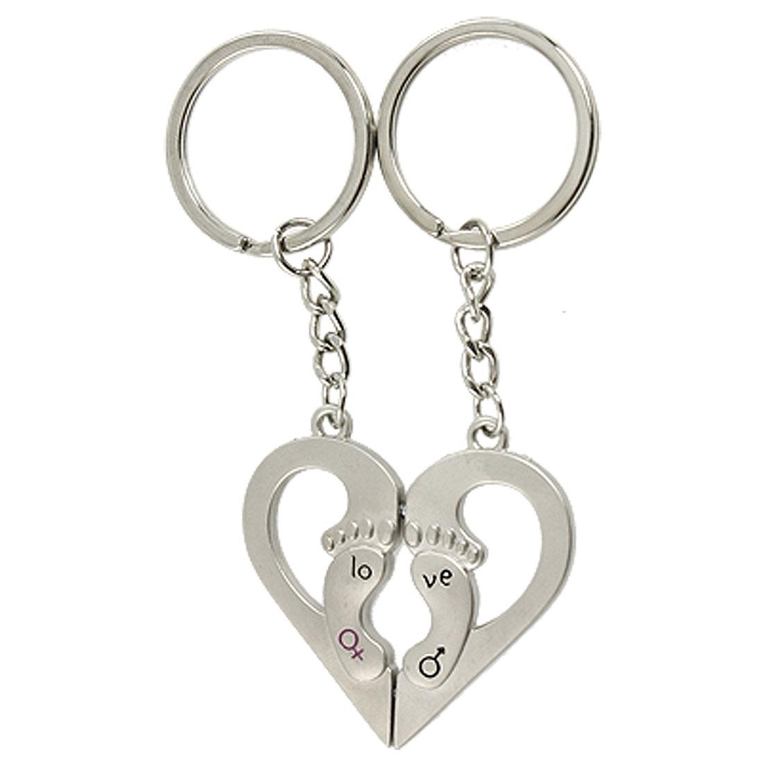 Lovers Gender Symbol Magnetic Heart Pendant Keychain Keyring