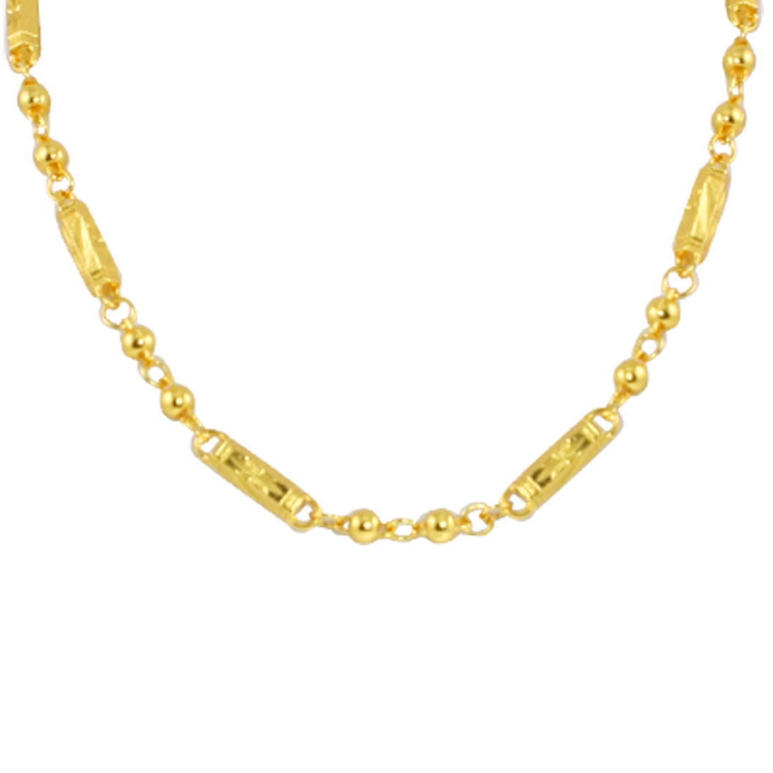 Men Women Gold Tone Beaded Linked Carved Alloy Necklace