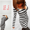 Scoop Neck Black White Bar Striped Tunic Shirt XS for Lady