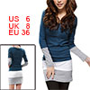Women Scoop Neck Long Sleeves Color Block Mini Dress S Navy Blue