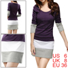 Women Purple Scoop Neck Long Sleeve Bar Striped Hem Tunic Dress S