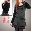 Dark Gray Scoop Neck Pullover Stretchy Ruffled Mini Dress XS for Women