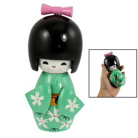 Pink Bowtie Carved Floral Green Kimono Wooden Japanese Doll Kokeshi Decor