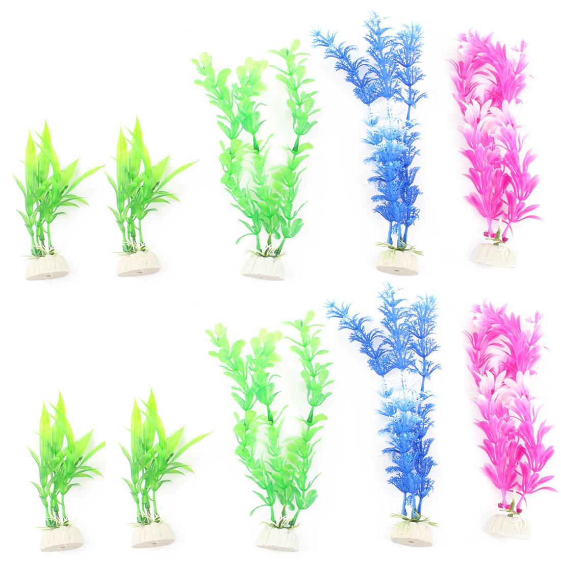 Plastic Bamboo Snowflake Style Leaves Plants Aquarium Ornament 10pcs