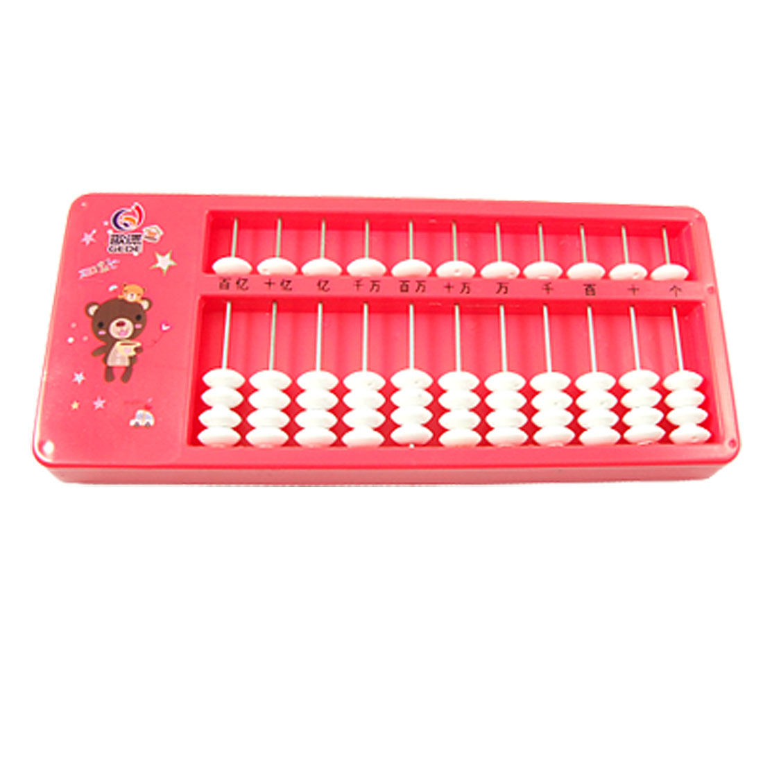 Star Bear Pattern Hot Pink Frame 55 Count Beads 11 Column Arithmetic Abacus Japanese Soroban