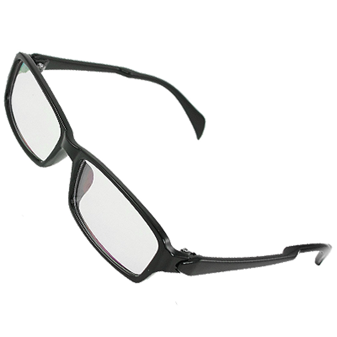 Man Woman Multi Coated Lens Black Plastic Arms Plain Glasses