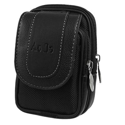 Men Magnetic Button Stud Closure Double Layer Waist Bag Pouch Black