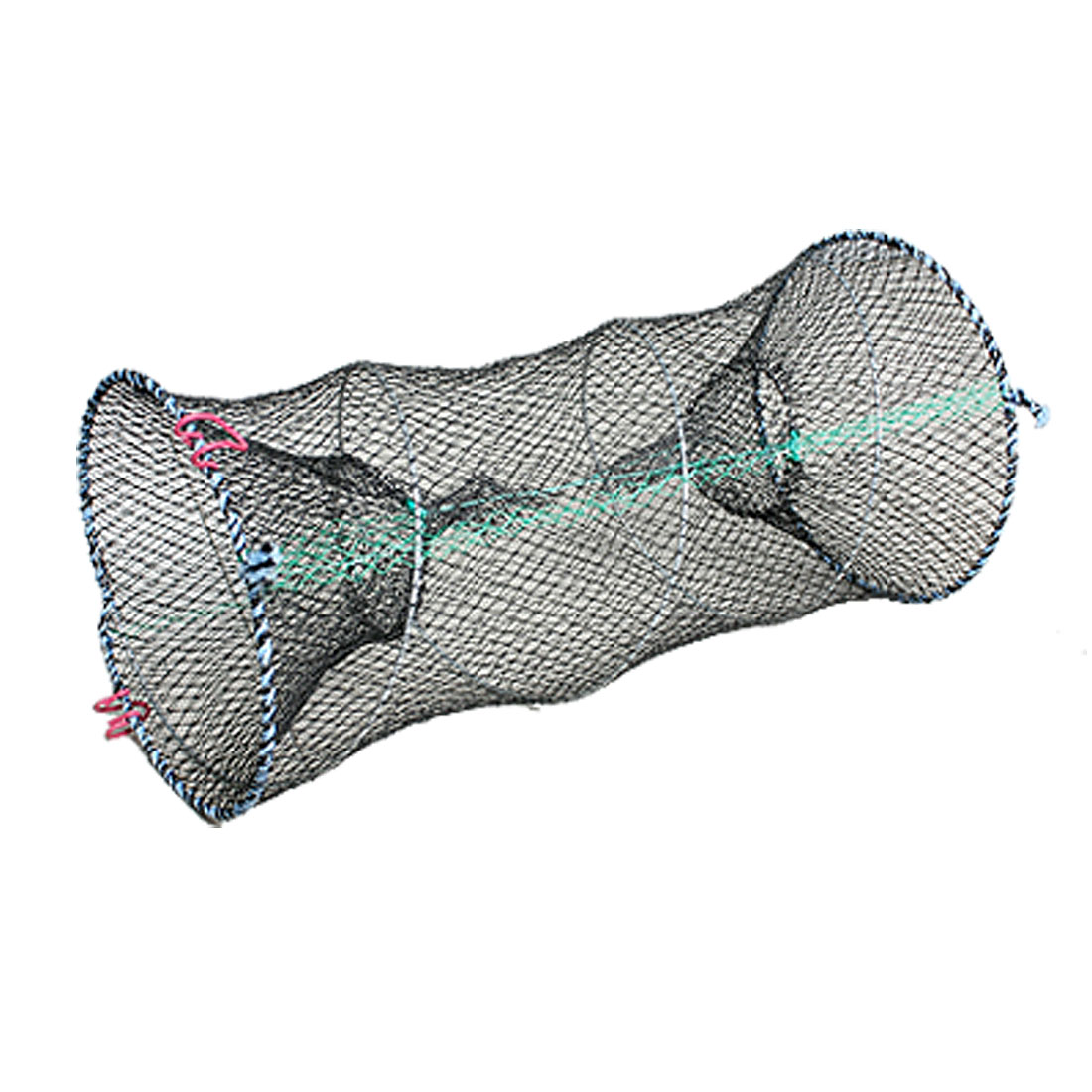 Black Mesh Cylindrical Double Entrance Fish Shrimp Lobster Crab Net