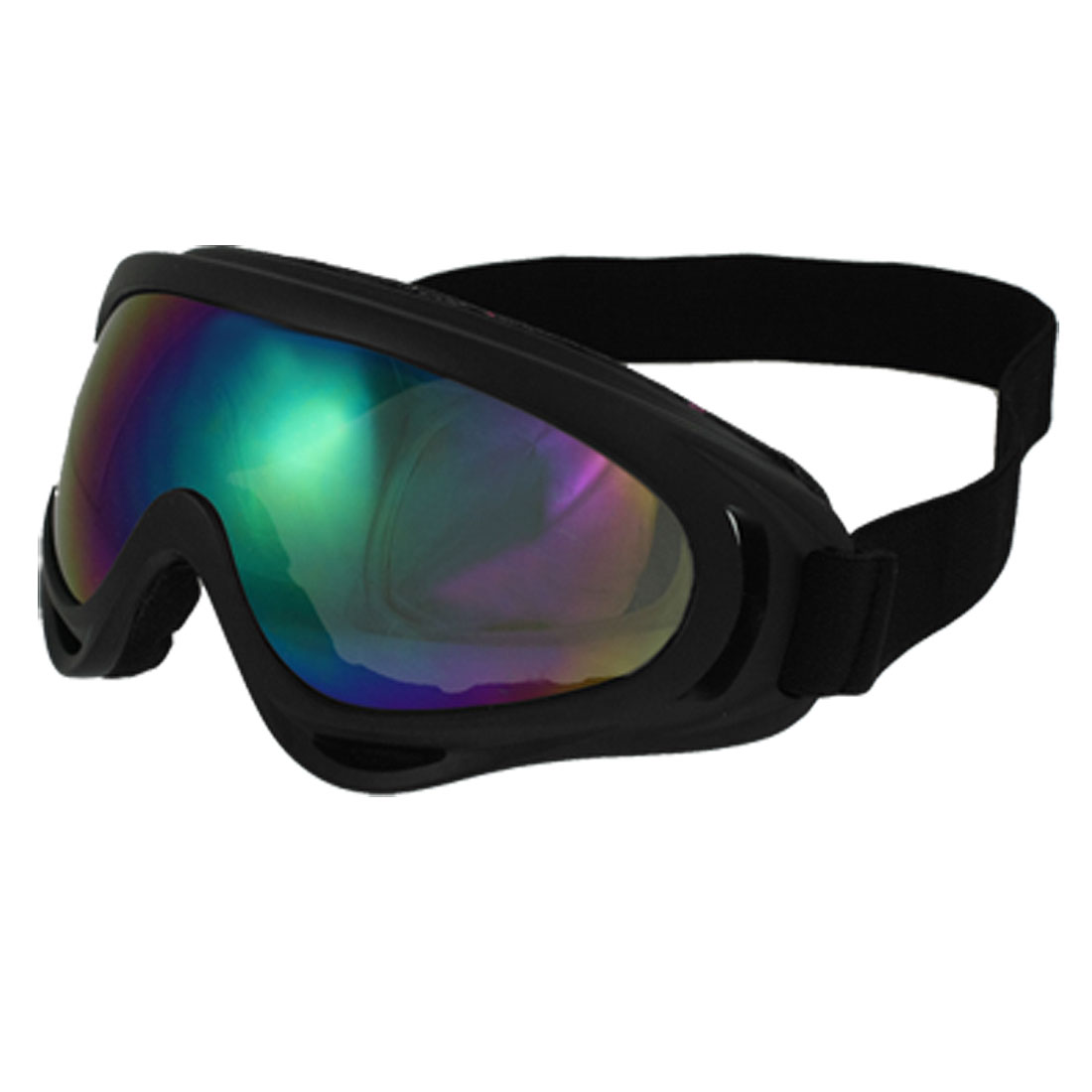 Man Woman Black Plastic Full Frame Colored Lens Wind Sand Ski Goggles Glasses