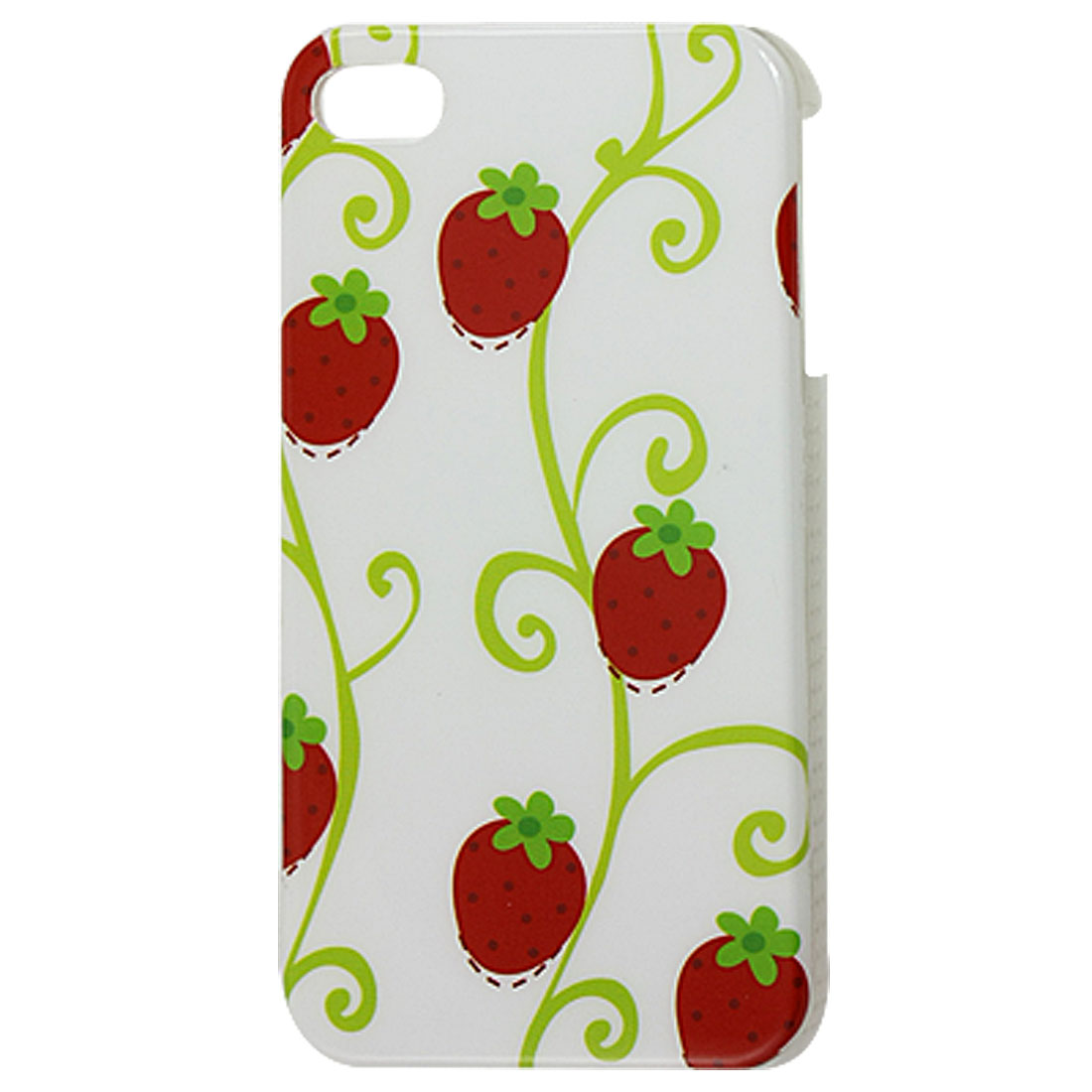 Strawberry Print IMD Plastic Back Shell Cover White for iPhone 4G 4GS