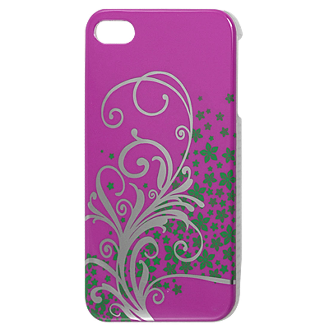 IMD Green Flowers Fuchsia Hard Plastic Back Case for iPhone 4G 4GS