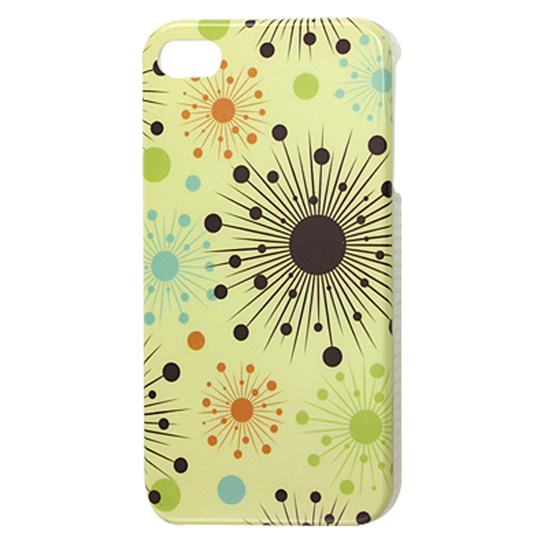 IMD Circles Floral Print Yellow Hard Plastic Back Case for iPhone 4G 4GS