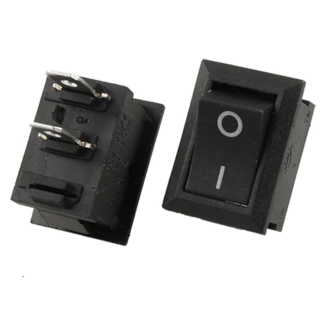 3 x AC 250V 8A ON/OFF I/O 2 Position SPST 2 Pin Snap in Boat Rocker Switch Black