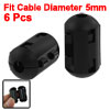 6 Pcs Black Clip On EMI RFI Noise Ferrite Core Filter for 5mm Cable