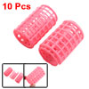 10 Pcs Hairdressing Hair Curling Tool Pink Plastic DIY Roller Curler