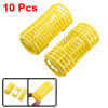 Women Plastic Roller Curler Hair Curling Tools Yellow 2.9 Inch Long 10 Pcs