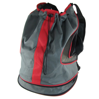 Woman Men Drawstring Closure Stiff Base Nylon Backpack Rucksack Red Gray